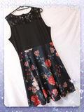 新品腰リボン付き胸レース花柄ワンピース ブラック XL