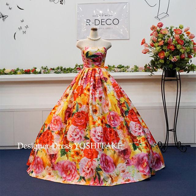 ウエディングドレス(パニエサービス) オレンジ花柄ドレス