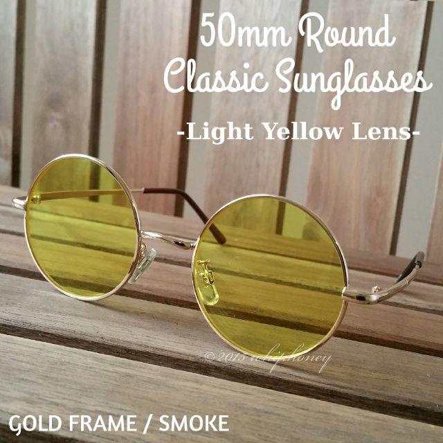 丸眼鏡ゴールドフレームだて眼鏡ライトスモークイエロー50mm