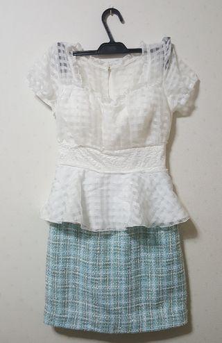 ギンガムツイードドレス