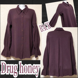 【新品/Drug honey】ガーゼ素材袖ギャザー入シャツ