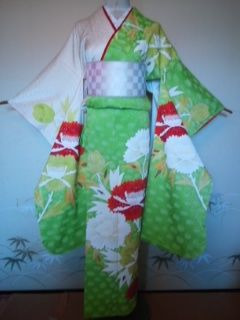 POPでカワイイ中振袖正絹袷161美品レタP