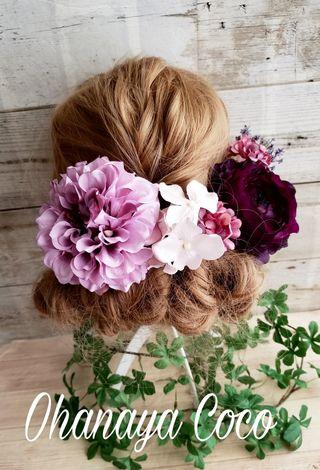 アンティーク風髪飾 パープル系お花の6点Set No302