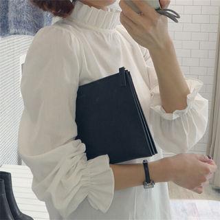 美品 オフィスカジュアル フリル袖ブラウス シャツ