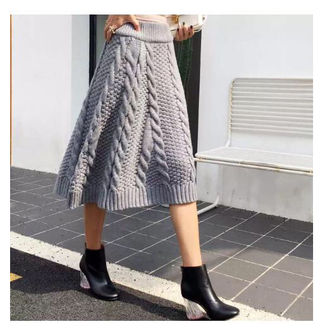 ケーブル編み ニットスカート 冬でも暖か グリーン