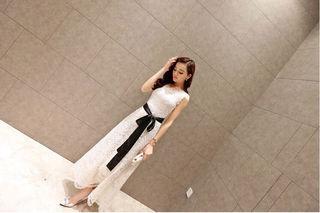 白 レース ロング ドレス サッシュベルト キャバドレス