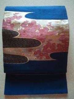 ブルー雅ピンク華*ナゴヤ正絹チョー美品レタR