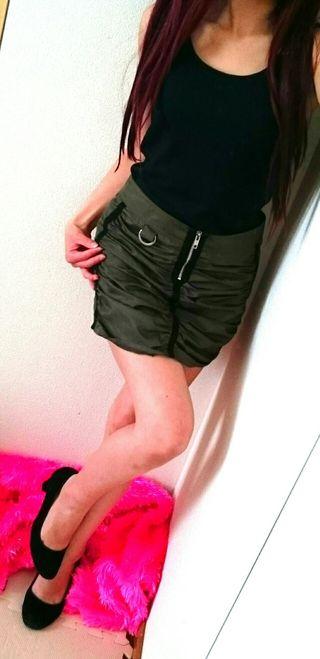 MORGANカーキ/デザイン*スカート