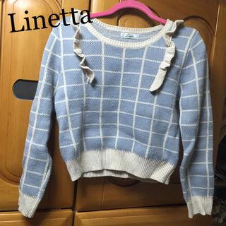 Linetta*肩フリルチェック柄ニット