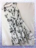 新品ベルト付き花柄綺麗ワンピース ホワイト M