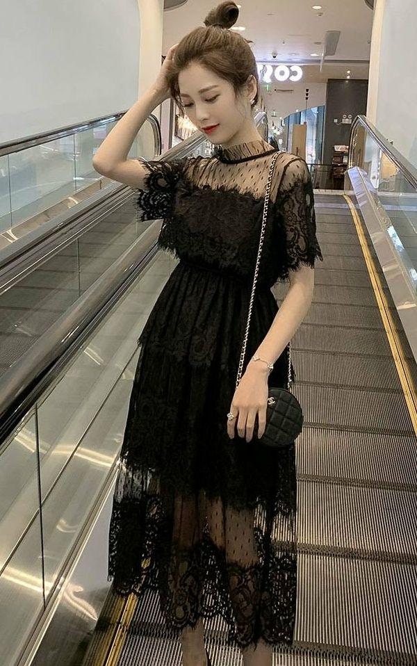 ブラックレスワンピース結婚式二次会お呼ばれドレス
