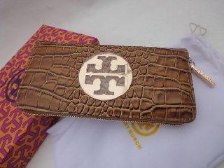 正規トリーバーチ長財布クロコダイル茶色