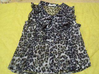 豹柄 シフォンシャツ