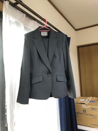 スーツ パンツ スカート ストライプ グレー 11号