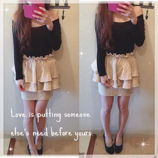 Lily Brown ジャガードペプラムタイトスカート