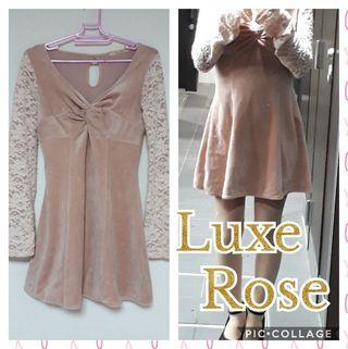 Luxe Rose長袖 フレアワンピース M