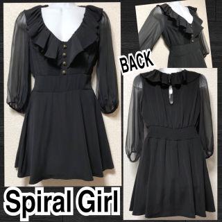 【新品/Spiral Girl】袖シフォン切替フリル襟ワンピ
