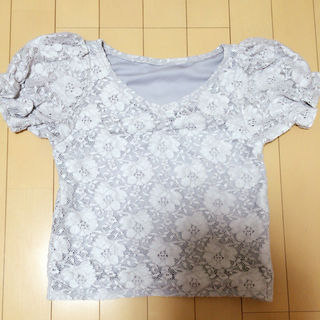evelyn グレー 花柄レース tops
