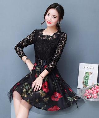 ワンピースドレス花柄パーティ透け感レッド