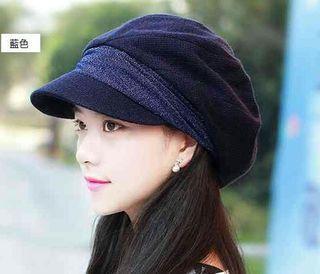 ネイビー小顔効果 防寒 キャスケット 帽子 レディース 女性