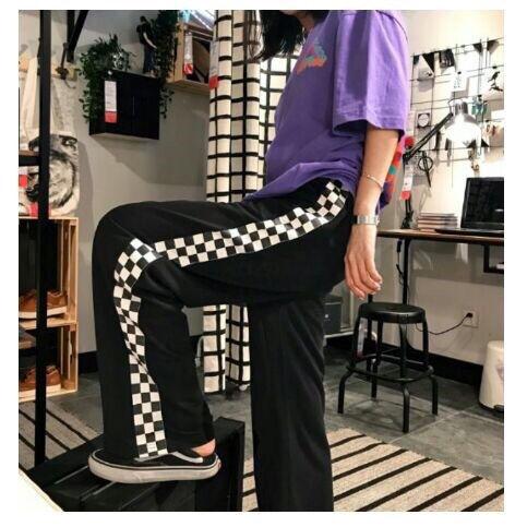 チェック柄 ラインパンツ 韓国系 ストリート系 パープル 紫
