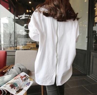 ホワイト M ビッグシルエットシャツ バック ジップ