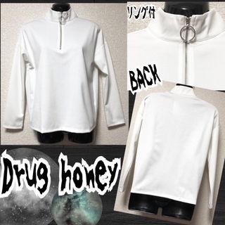 【新品/Drug honey】リング付ジップカットソー