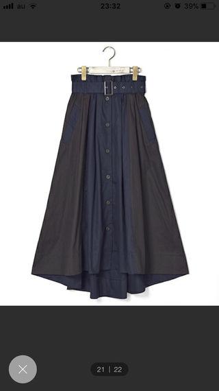 ベルト付きロングフレアスカート