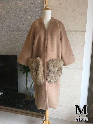 【SALE☆☆】ファー ノーカラー ロング丈 コート M