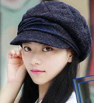 藍灰色 小顔効果 防寒 キャスケット 帽子 レディース