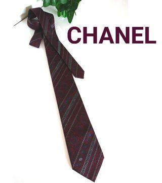 正規美品 シャネル 上質 シルク ネクタイ ヴィンテージ 柄