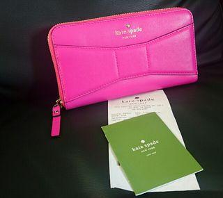 人気柄確実本物 ケイトスペード 新品 レザー リボン 長財布