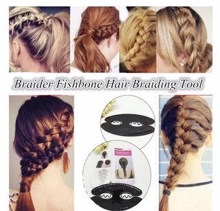 Fishbone hair braiding tool