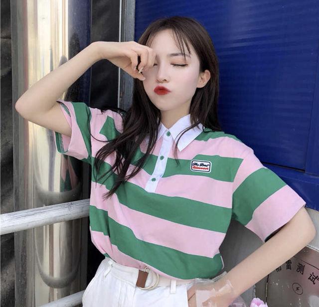 ピンク×グリーンのボーダーポロシャツ - フリマアプリ&サイトShoppies[ショッピーズ]