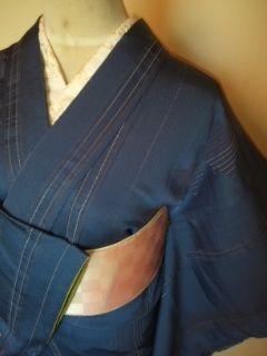 ブルー☆ラメ縞レトロお召正絹袷150美品小振袖