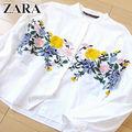 超美品 (USA)M ザラ ZARA 刺繍ブラウス ホワイト