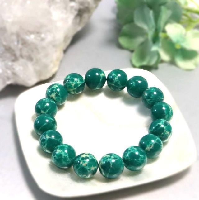 (533) 天然石インペリアルジャスパー 緑 ブレスレット