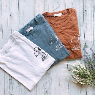 新品 韓国 スヌーピー 刺繍 Tシャツ