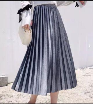 プリーツスカート 灰色 レディース ロング