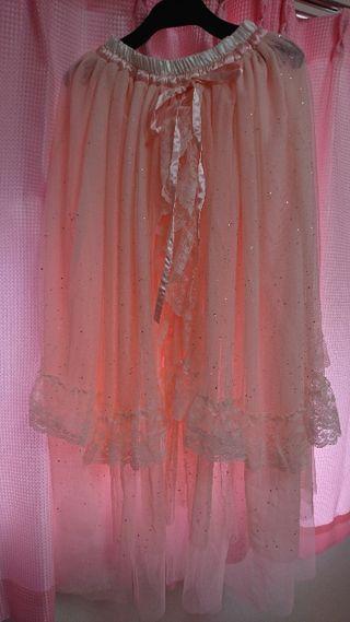 Bobon21 スウィートチュールロングスカート ピンク S