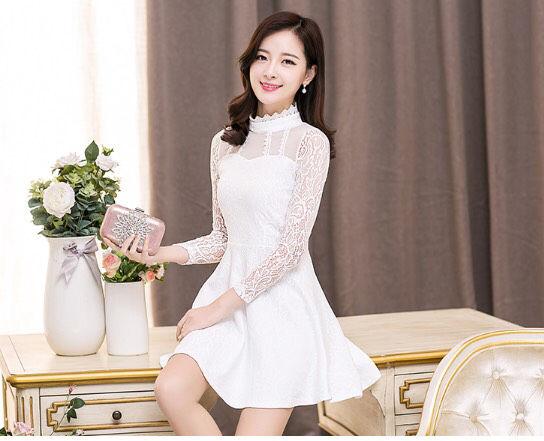 f9a7e19ebf572 白 お嬢様ワンピ レース 長袖 上品 ドレス ワンピース - フリマアプリ サイトShoppies ショッピーズ