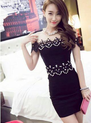 華やかパールビジュータイトドレスキャバドレス