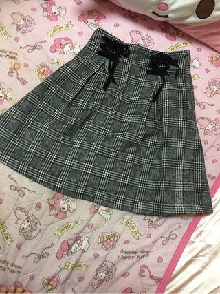 グレンチェック編み上げスカート