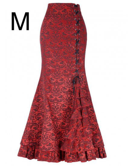 新品編み上げ裾キレイ超ロング丈マキシスカート レッド M