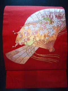 朱赤金箔*扇ナゴヤ正絹帯チョー美品レタR