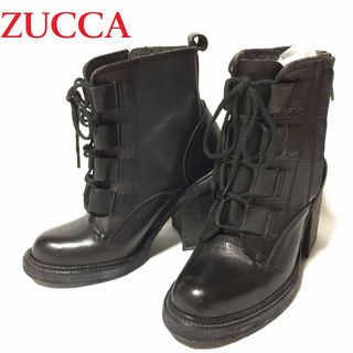 ズッカ ZUCCA☆サイドジップ付レースアップ ヒールブーツ