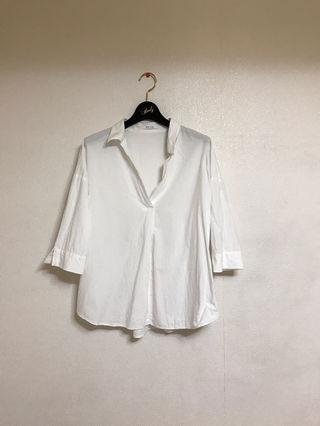 Avan Lilyスキッパー白シャツ  七部袖