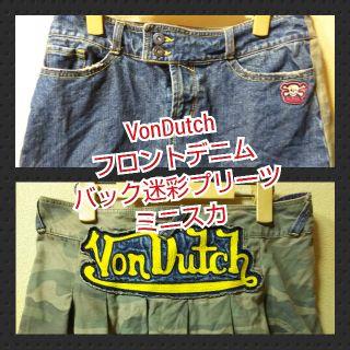 VonDutchUSEDデニムバック迷彩プリーツのミニ