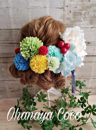 芍薬と紫陽花ミントの髪飾り11点Set No303  レトロ