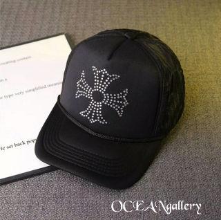 ブラック黒クリアラインストーン クロス十字架キャップ帽子
